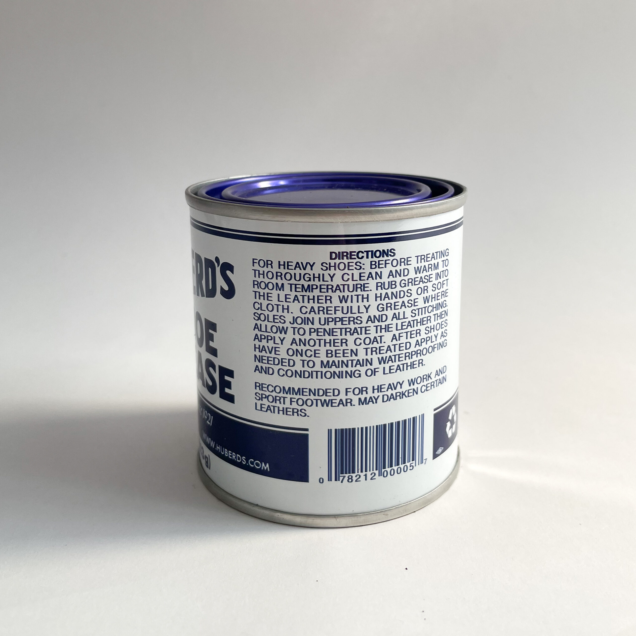The side of a Huberd's Shoe Grease Can, showing the Directions