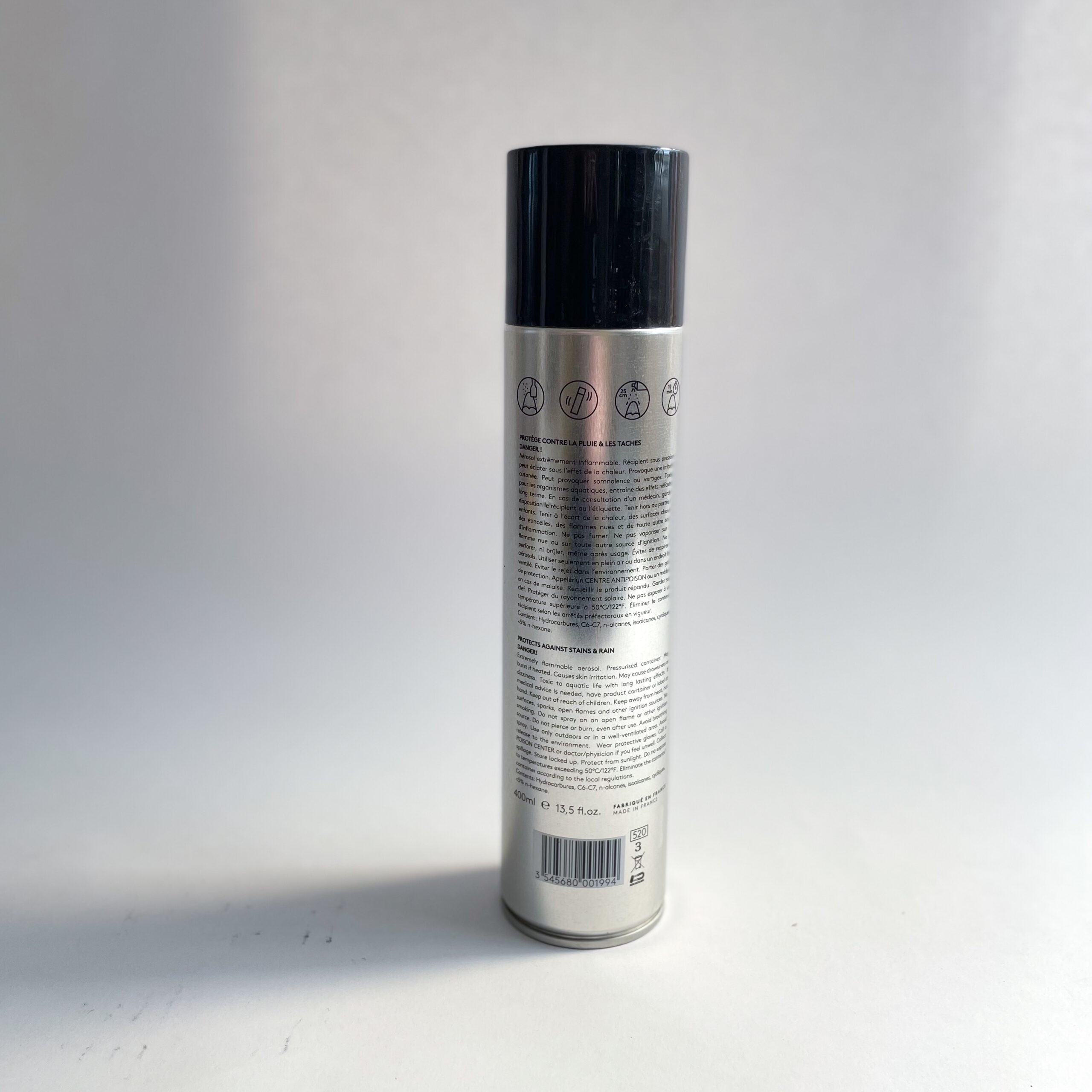 The back of a can of Famaco Waterproofer Spray