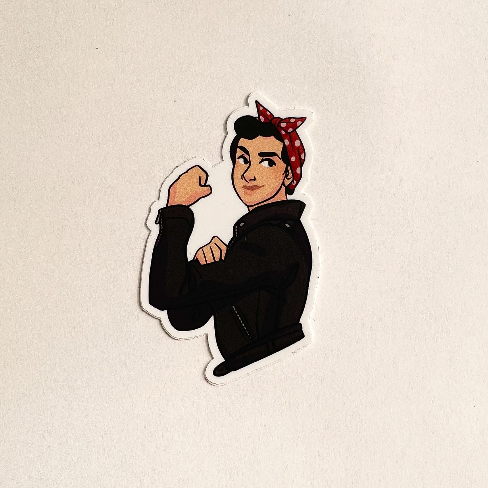 Sticker of a feminist woman cobbler