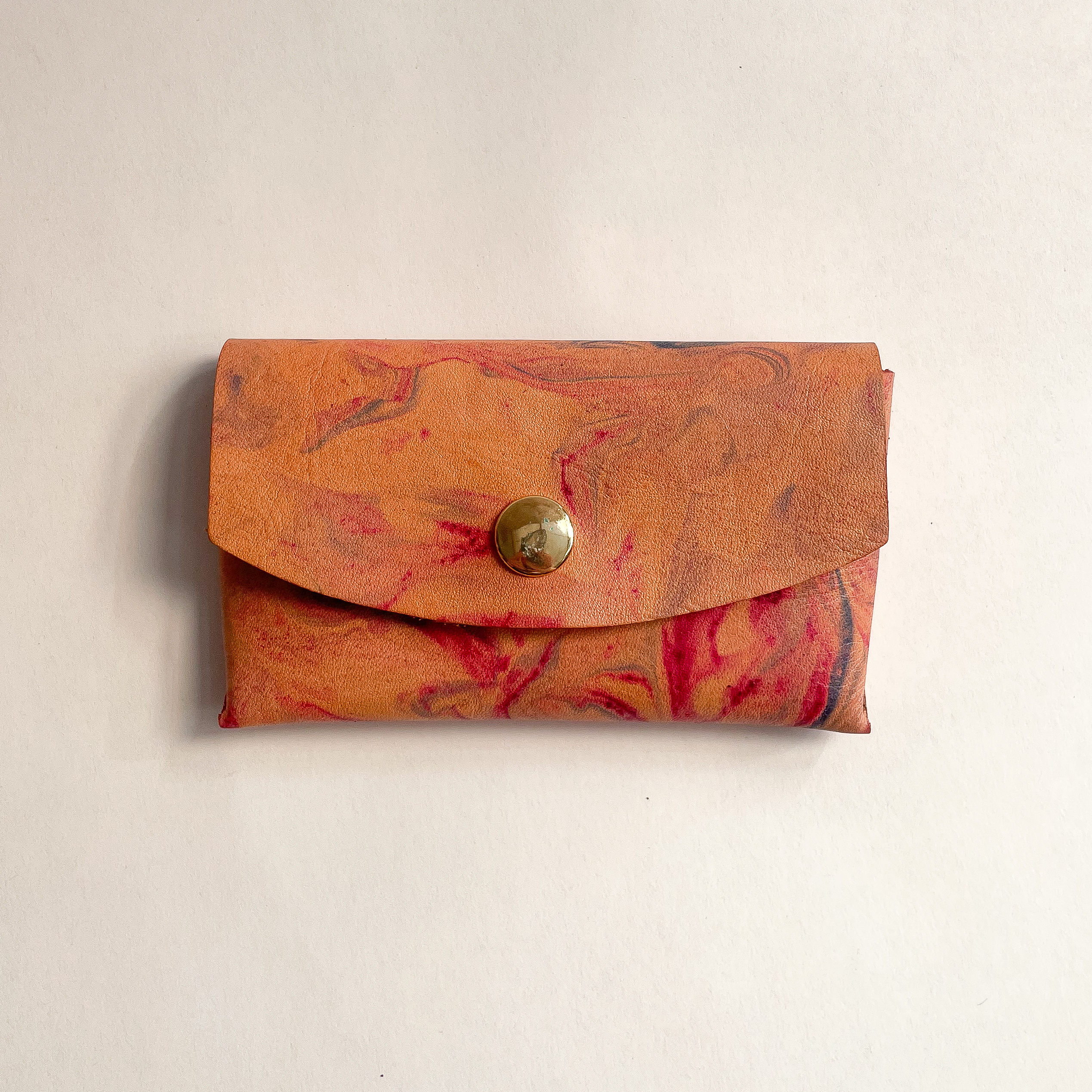 Front side of the Leather Marbled Card Case, closed top