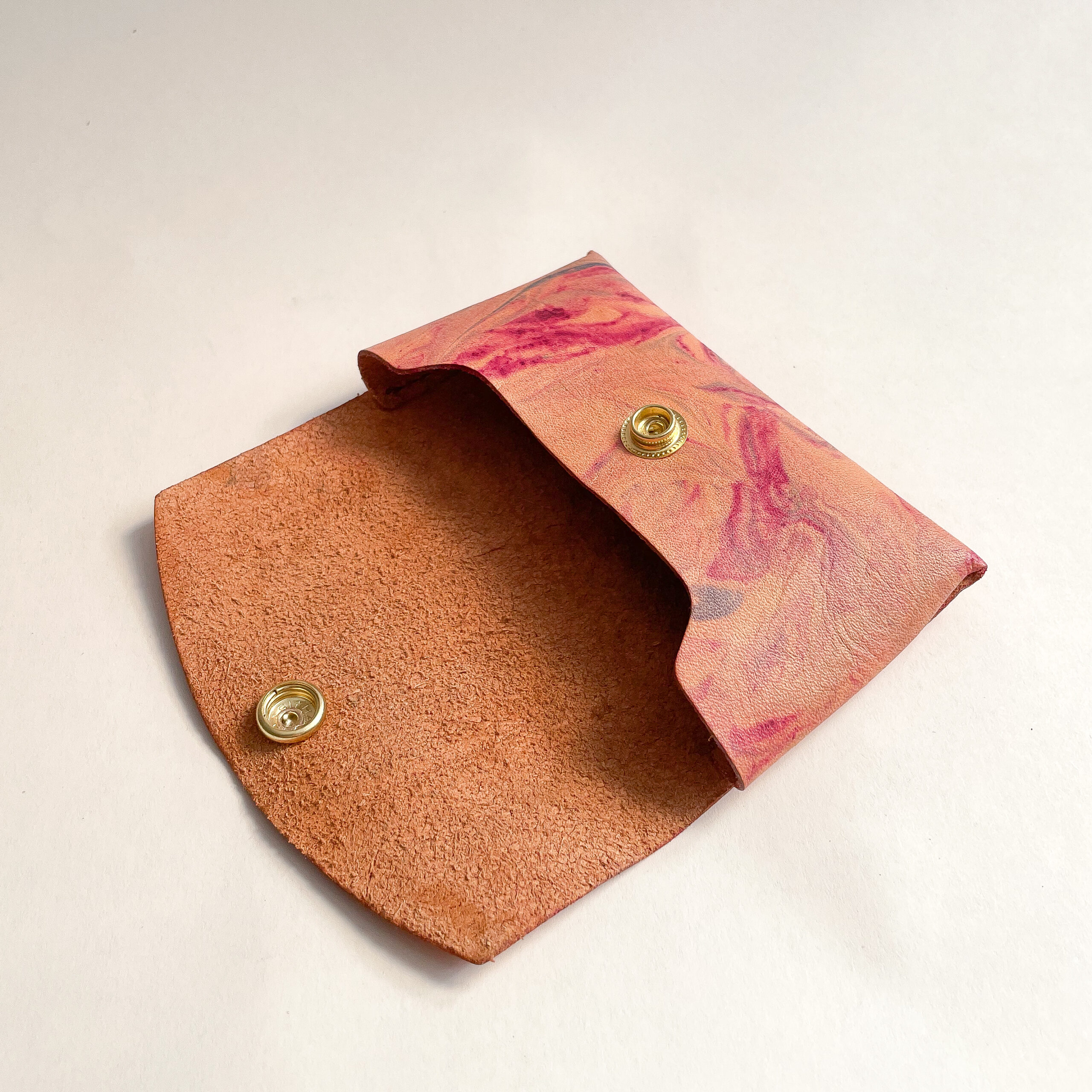 Marbled Leather Card Case laying flat and open