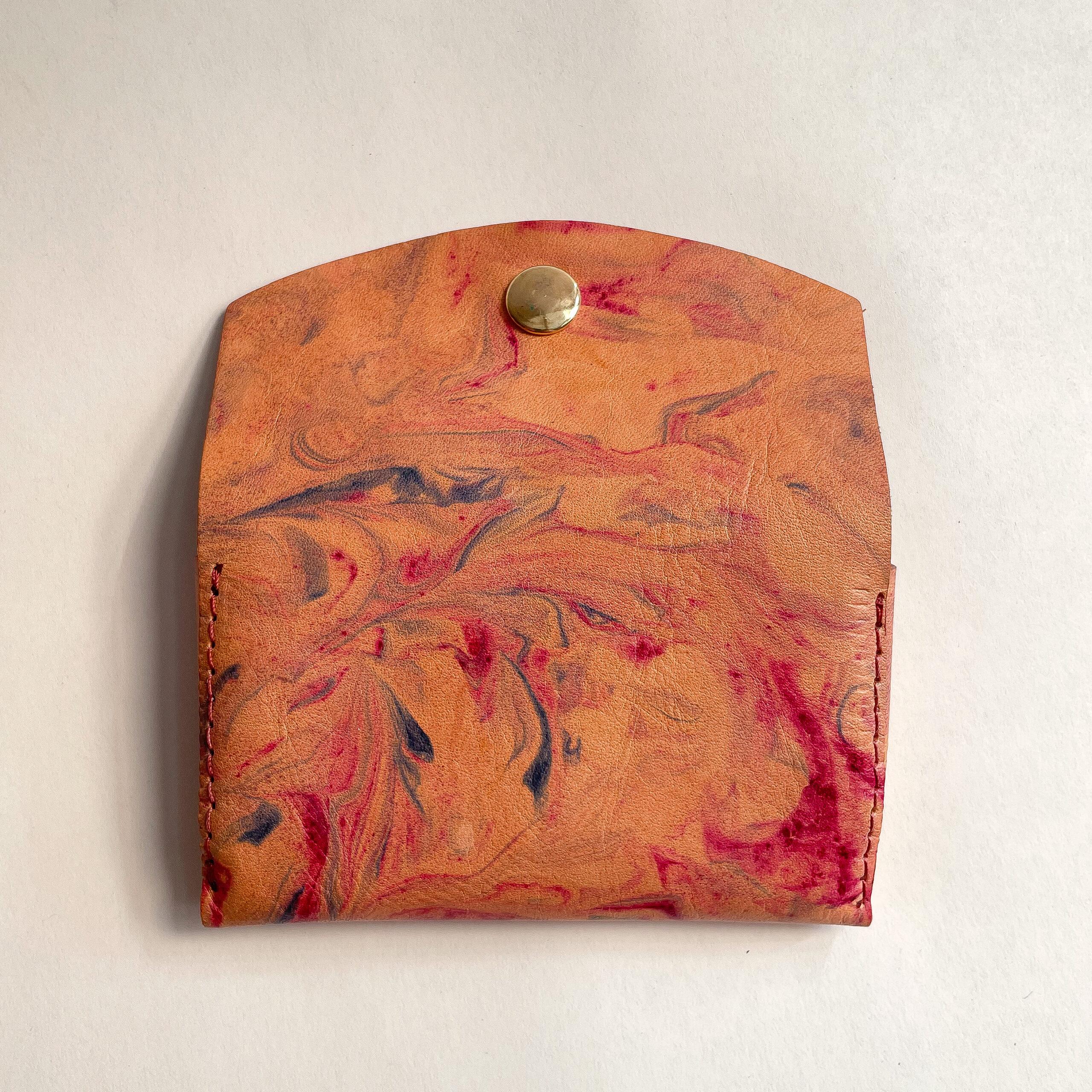 Backside of Marbled Leather Card Case